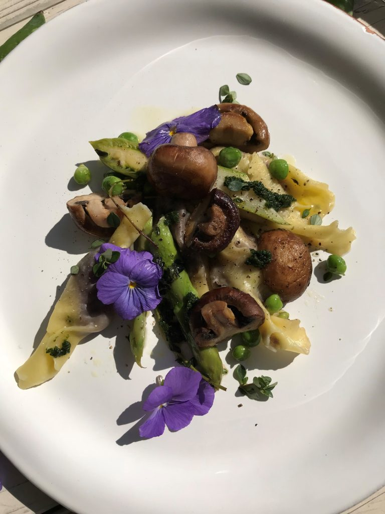 Chef's Handyman Coated Blueberries with Mushrooms and Peas